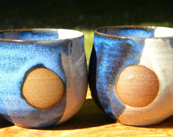 Blue and White Full Moon Ceramic Tumblers