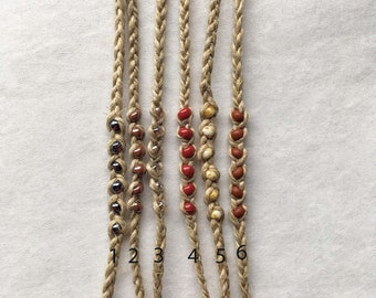Hemp Wish Bracelet With Six Glass Beads In Choice of Six Colors