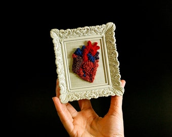 Anatomical Heart sculpture Mini Frame. Valentine Punchneedle Fiber Art. Home or Office Decor. Heart Surgeon. Wedding Anniversary Gift