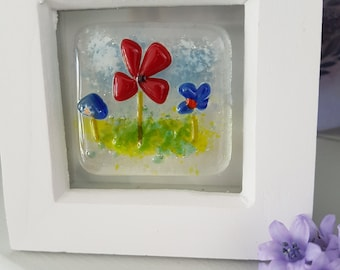 small fused glass picture, small gift, framed fused glass art, flower scene