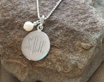 "20"" Monogram Silver Necklace-Simple Silver Necklace-Personalized Necklace"