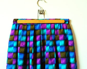 Vintage Geometric Squares Skirt / Pleated Gemstones Skirt / Vintage Pleated Skirt Purple and Blue Gemstones