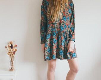 Vintage Hippie Dress, Bohemian Clothing, Indian Dress, Floral Pattern