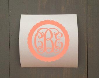 Vine Monogram Decal, Vinyl Monogram, Monogrammed Sticker, Monogram Decal, Monogram Car Decal, Yeti Decal, Tumbler Decal