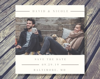 Rustic Elegant Photo Save the Date Announcement - Printable