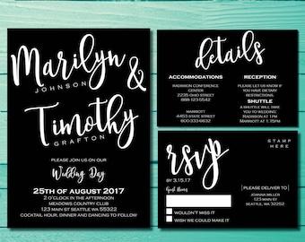 Elegant Wedding Invitations   Black and White Invites   Modern Wedding Invite   Black Tie Affair   Formal Wedding Invite   Our Love Story