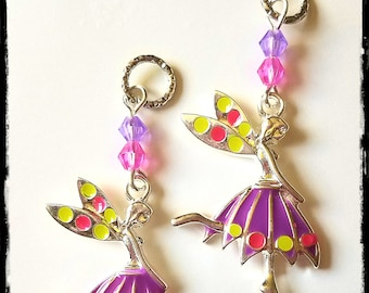Hearing Aid Charms:  Silver Plated Enamel Purple Dress Fairies with Glass Accent Beads!