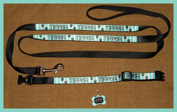 Personalized Dog Collar Dog Tag Pet ID Tag Dog Leash Set Adjustable Custom Dog Collar Personalized Monogrammed ID Gift Pet Lover Preppy