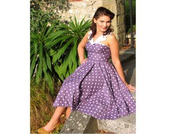 Polka Dot Dress | 50s Style Tea Dress | Swing Dress with Collar | Plus Size Dress | Custom Colours & Sizes 6 - 26 | 1950s Vintage style