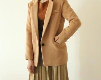 Wafer Wool Blazer -Camel tailor-fit wool blazer