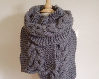 Oversized chunky scarf for her, cable knit scarf, Gray cable scarf, chunky knit scarf for women, knit scarf for him, mothers day gift