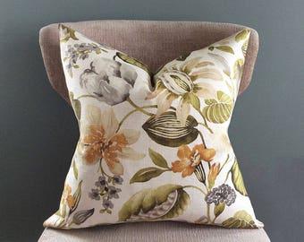 Pillow cover, Green Orange decorative pillow, Linen pillow, Cream Grey White pillow cover, Throw pillows, Floral pillow, Garden