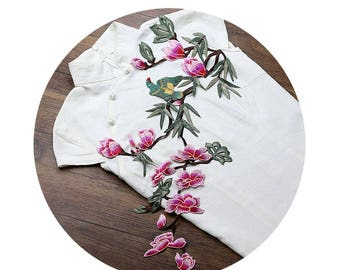 Hot Pink Flowers Appliques Bird On Floral Branch Patches