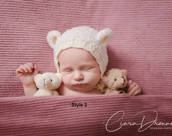 Newborn Bear Hat Prop/ Photo Prop Bear Hat/ Newborn Boy Cream Prop Hat/ Baby Girl Photo Prop Hat/ Animal Photo Prop Hat/ Bear Ear Hat