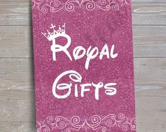 "Disney Princess ""Royal Gifts"" Sign v2 // INSTANT DOWNLOAD // Party Decor // Printable, Digital"