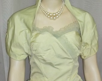 Vintage 1950's Tulle Lace Strapless Bombshell Prom Party Dress Green Bolero 50's Full Circle Skirt Small