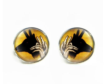 Deer Shadow Puppet small post stud earrings Stainless steel hypoallergenic 12mm Gifts for her