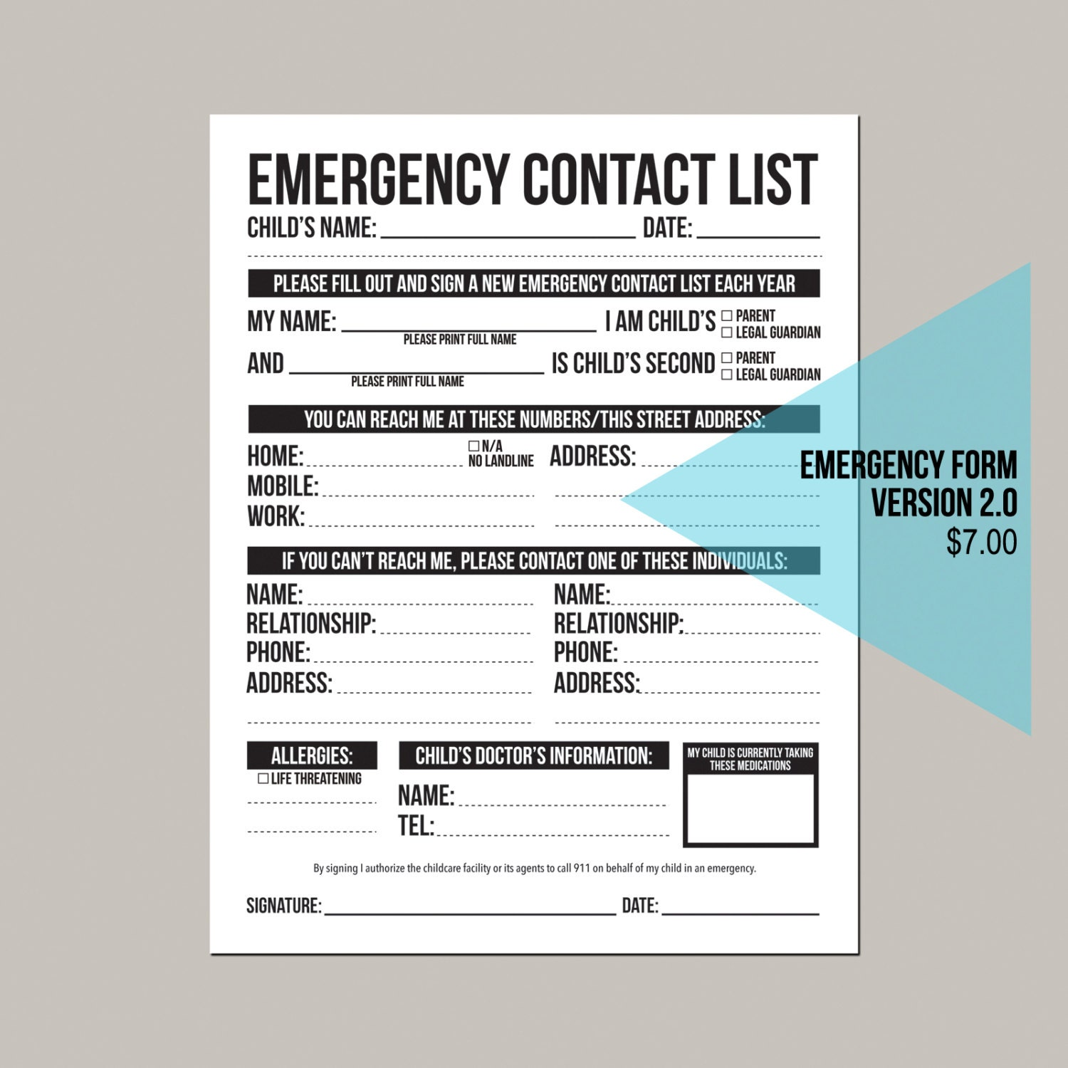 emergency contact list template free download name and email sign up ...