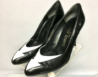 NEW WAVE 1980's, Charles Jourdan PARIS Designer, Black Leather High Heel Shoes, Made in France, size 6