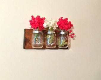 Mason Jar Organizer, Kitchen Bathroom Mason Jar Storage, Wall Hanging Mason Jar Decor