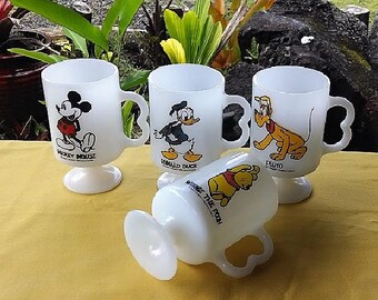 Disney Mugs Set of 4, Vintage Walt Disney Productions Milk White Mugs, Mickey Mouse, Donald Duck, Pluto, Winnie The Pooh, Collectible Mugs