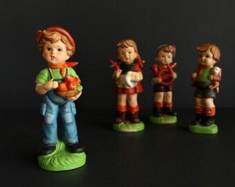 Vintage Hummel Like Boy With Apples Made in Japan Figurine