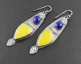Canary Chalecdony and Lapis Earrings, sterling silver, bohemian earrings, dangle earrings, michele grady, stamped, blue yellow,metal jewelry