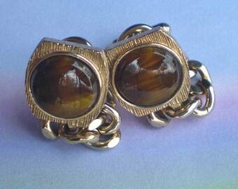 Vintage 70s Swank Tiger Eye Chain Wrap Cufflinks