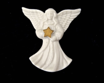 Lenox Bisque Porcelain Angel Brooch/Pin / Creamy Bisque White Angel with Star