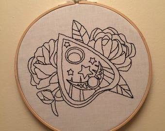 Planchette floral embroidery hoop art