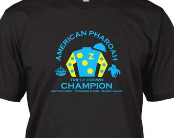 American Pharoah Triple Crown Winner Champions Adult Cotton T-Shirt White OR Black