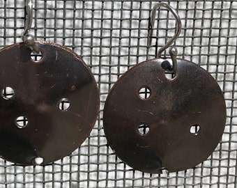Unusual copper punched earrings