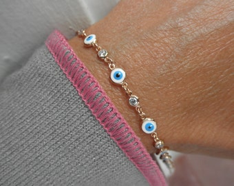 Multi  evil eye bracelet with cz charms- evil eye bracelet - protection bracelet - rose gold - gold - silver