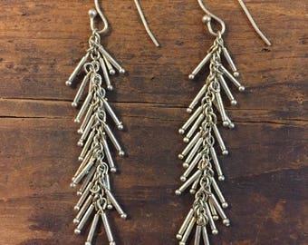 Fringe Dangle Earrings Sterling Silver 925 Vintage Flapper Style