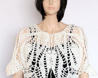 Ivory Capelet Crocheted Shawl Off-White Shawl Crocheted Capelet Bridal Shawl Shoulder Shawl  Women's Shawlette Wrap Wedding Shawls