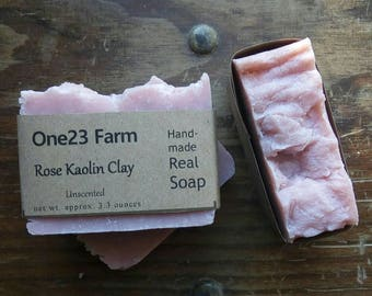 Rose Kaolin Clay Soap. Unscented, All Natural