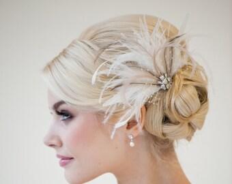 Bridal Feather Fascinator, Wedding Feather Headpiece, Bridal Feather Fascinator, Feather Bridal Hairpiece -  OLIVIA
