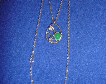 Chrystophrase free form Necklace, Sterling Silver, Pendent