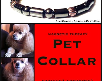 Small PET Magnetic Collar therapy Hematite and Copper High Strength Magnetic Custom Sized pet jewelry Wellness Health