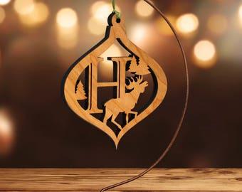 Moose Ornament with Letter H, Laser Cut Hardwood