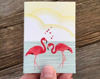 gift enclosure card / valentine card / flamingos