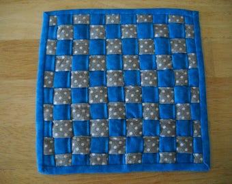 "Woven fabric potholder//Woven fabric trivet/Blue grey and white woven fabric potholder/trivet//8"" potholder/trivet//Blue grey dot hot pad"