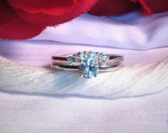 Elegant White Sapphire Wedding Ring Set ~ 925 Sterling Silver ~ Size 6.75