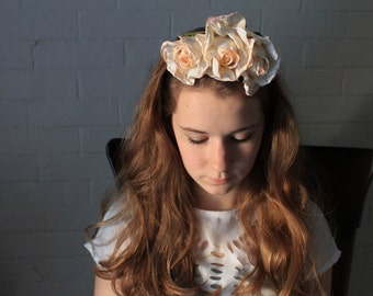 Bridal Flower Crown - Frida Kahlo Silk Rose Headband with Vintage Silk Flowers - Snapchat Floral Crown - Ivory Roses