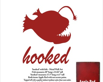 "hooked and fish metal wall art - Apple Red with rust accents patina - 20"" wide fish - 6.5"" tall hooked"