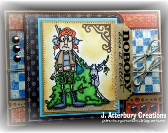 OOAK---Nobody Does It Better Hunting Male Card + Matching Envelope