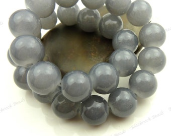 10mm Gray Round Glass Beads - Smooth, Shiny, Painted Beads - 20pcs - BL23
