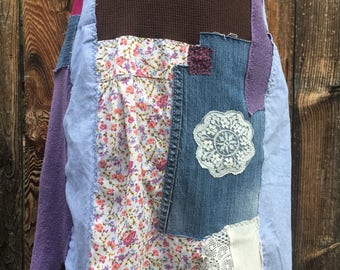 Upcycled skirt, lagenlook, womens skirt, top stitched skirt, patchwork skirt, recycled skirt, eco fashion