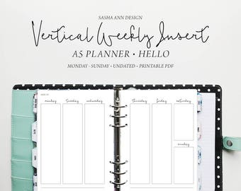 A5 Planner - Vertical Weekly Printable Insert - (Monday - Sunday) [Hello]