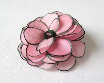 Hand painted silk rose brooch - fresh blush pink and forest green - hand painted silk flower brooch - natural silk flower